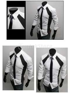 Sexy Stylish Mens Long Sleeve Cotton Slim Fit Patched Dress Shirt