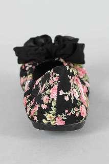 on Vintage Flower Print Ballet Flats Bow Pink Grey Black Leila 02 6 10