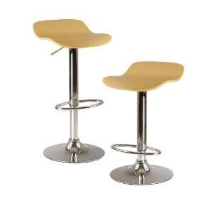 Kallie Set of 2 Air Lift Adjustable Stool, Cappuccino