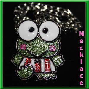 CUTE☆☆ XL KEROPPI FROG HELLO KITTY CRYSTAL NECKLACE ☆