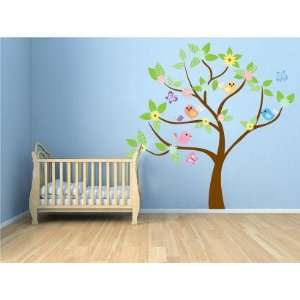 Kids tree vinyl wall decal with birds and garden daisy flowers and