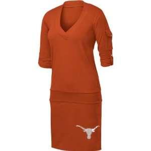Longhorns Womens Burnt Orange Drop Waist Dress