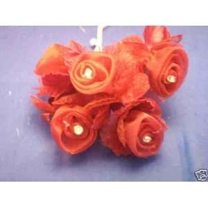 36 Burgundy Wedding Bridal Organza Flower & Rhinestone