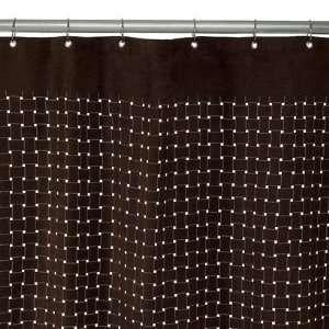 Laser Cut Shower Curtain   Brown Suede