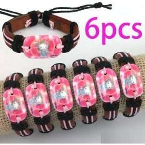 Wholesale 6 PCS Princess Hello kitty Acrylic Genuine Leather Bracelets