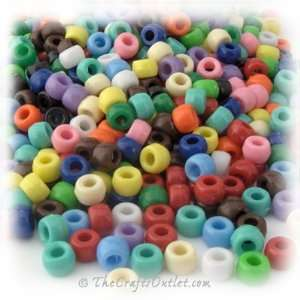 Plastic Round Opaque Pony Beads 6x9mm Multi Mix beads: Home & Kitchen