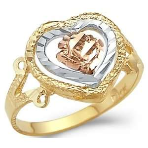 14k Yellow Tri Color Gold Heart Rose Flower Love Ring Jewelry