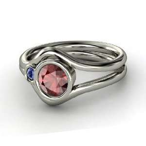 Sheltering Sky Ring, Round Red Garnet Sterling Silver Ring with