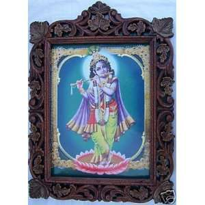 Lord Krishna standing in Lotus Flower, Frame