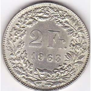 1963 Switzerland 2 Franc Coin   Silver Content 83,5%