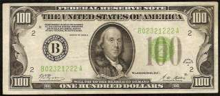 1928 A $100 DOLLAR BILL GOLD ON DEMAND LIGHT GREEN SEAL FED RES NOTE