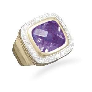 Silver and 14 Karat Gold Plated Fashion Ring with Purple and Clear CZs