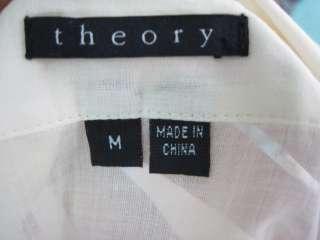 THEORY cream Sheer cotton Button Down Shirt Blouse M