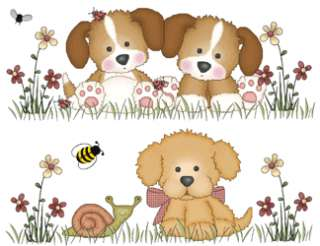 PUPPY DOG BUGS BEE BUTTERFLY FLOWER NURSERY BABY WALL ART BORDER