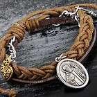 Braided Leather Wristband Bracelet Band Pendant Chain HOT