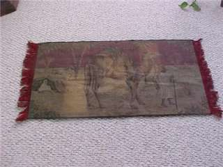 ANTIQUE ARABIAN TAPESTRY DESERT SCENE CAMEL/TENT/ARABS