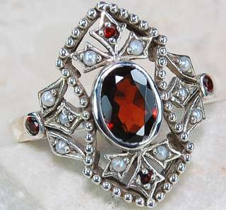 Natural 2ct Garnet Seed Pearl 925 Sterling Silver Victorian Style Ring