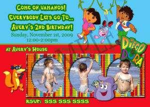 Dora and Diego Custom Photo Birthday Party Invitations