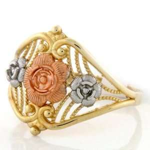 10K Solid Gold Tri Color Flower Rose Filigree Ring Jewelry