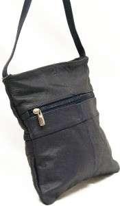 Leather Cross Body Purse Navy Blue Shoulder Bag Cow Hide Medium NWT