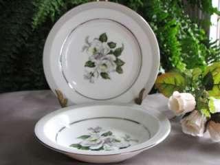 is for Fine China Dinnerware ~ Platinum White Rose ~ Pattern #3939