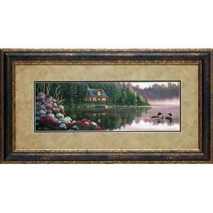 Still Waters by Kim Norlien framed 19x35 artwork loon cabin landscape
