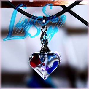 Custom Made Your Name on Rice Crystal Cute Heart Pendant w Necklace