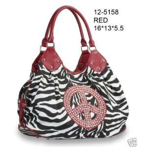 Purse Handbag with Rhinestone Peace Sign Zebra Print Hobo Tote Bag RED