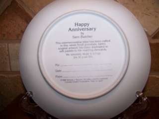 PRECIOUS MOMENTS~HAPPY ANNIVERSARY PORCELAIN PLATE~1988