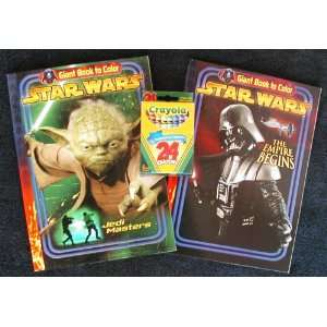 2 Star Wars Giant Coloring Books and 24 Crayola Crayons