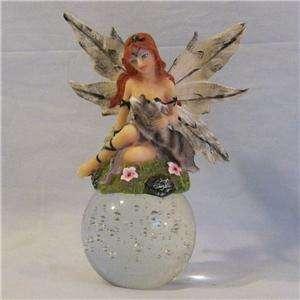 Wolf Loving Fairy Figurine on Glass Ball