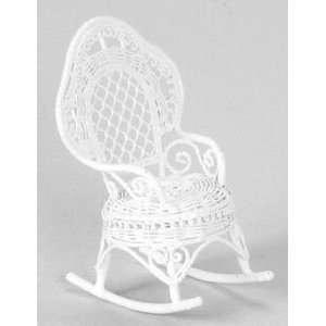 Dollhouse Miniature White Wire Rocker