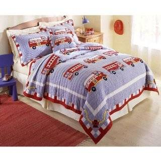 Fireman Fire Truck Kids Boys Quilt Bedding Set Full/queen