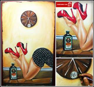 JEREMY WORST Original Jagermeister Time Sexy Woman Red SHOES Fairy Art