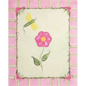 Spring Butterfly Pink Flowers Girls Art I Canvas