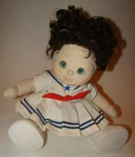 Child Curly Brown Hair Girl Aqua Green/Blue Eye Doll 1985 Sailor Dress