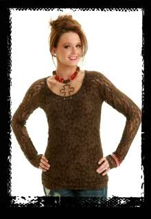 NWT* LADIES COWGIRL TUFF CHOCOLATE LONG SLEEVE LACE JERSEY w/ LINING