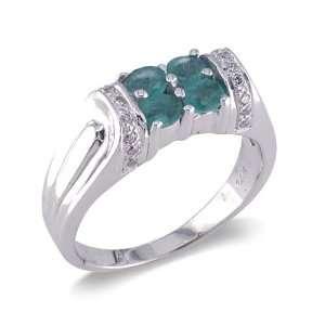 14K White Gold Diamond and Emerald Ring Size 6.5 Elite