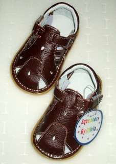 New Brown Genuine Leather Squeaky Sandals Shoe Baby Toddler Boy Size 3
