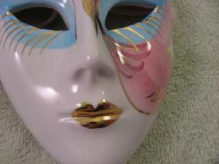 Decorative Mask Ceramic Gold Leaf Carnival Mardi Gras Mascarade