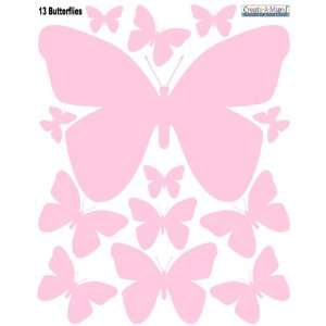 Pink Peel & Stick Wall Appliques for Girls Room Decor