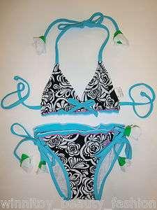 2012 NWT Girls Black Rose String Swimsuit Swimwear Bathers Bikini 2