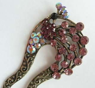 VARY COLORS SWAROVSKI CRYSTAL BRONZE PEACOCK HAIR STICK PIN 336