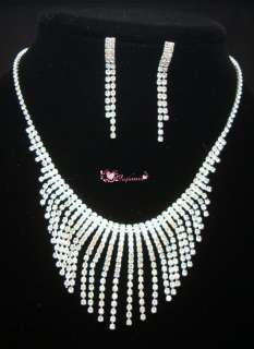 Bridal Drag Queen Clear Rhinestone Necklace Earrings