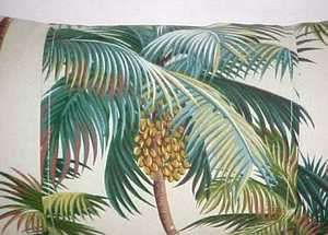 Tropical Hawaiian 100% Cotton Barkcloth Fabric LUMBAR PILLOW ~Palm