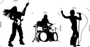 Rock Band Guitar Drums Bass Vinyl Wall Decal Kids Room