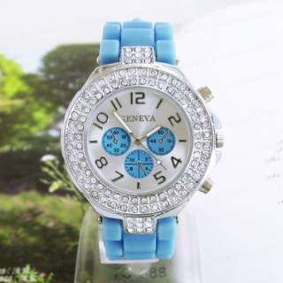 Blue Silicone Rubber Jelly Geneva Quartz Crystal Lady Women Wrist