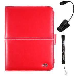 Red Leather Cover Case and LED Light for Sony Reader eBook