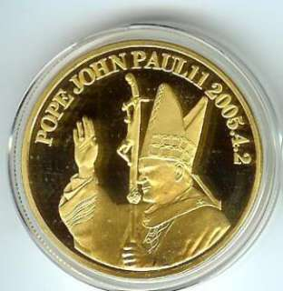 This is for one Brilliant Uncirculated  Pope John Paul II  24K Gold