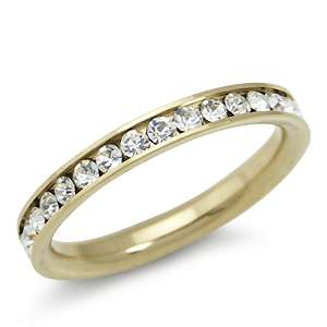 Gold Tone Stainless Steel Wedding Eternity Band Ring(RN2075261.0001